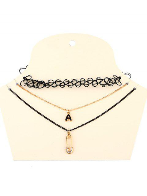 women's Letter A Necklaces - BLACK  Mobile