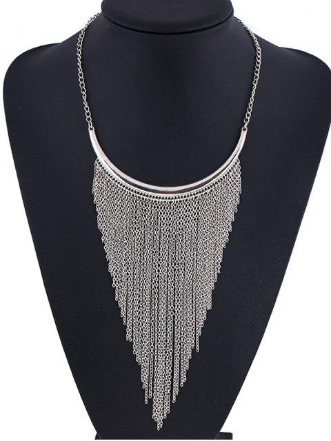 online Long Chain Fringe Necklace - SILVER  Mobile