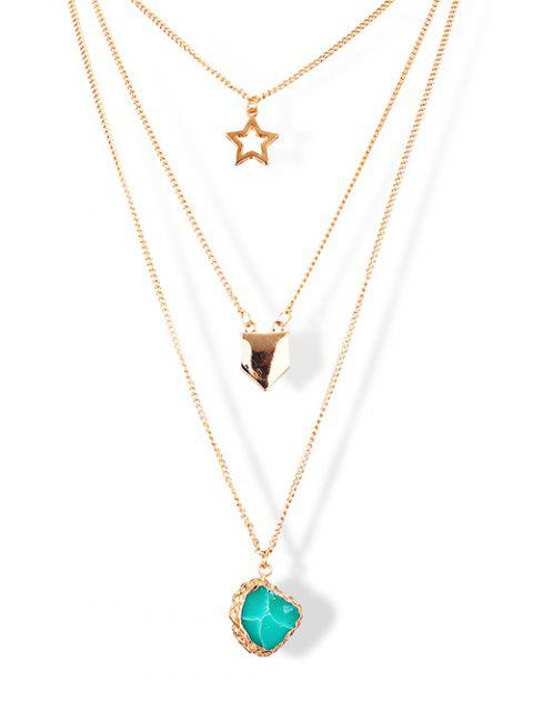 lady Alloy Star Sweater Chains - GOLDEN  Mobile
