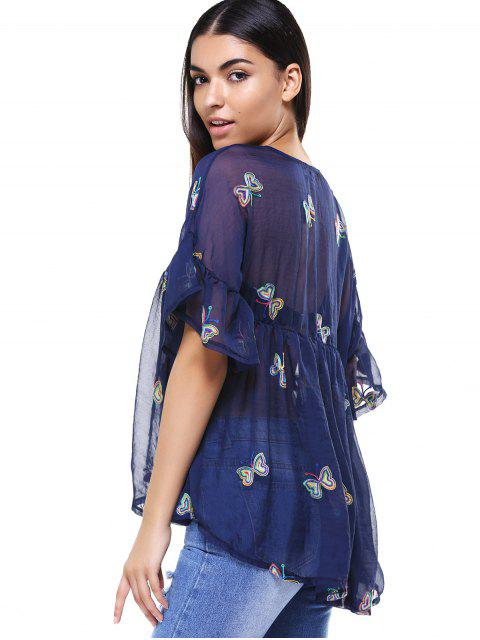 shops Cami Top and Butterfly Print V-Neck T-Shirt Twinset - PURPLISH BLUE 3XL Mobile