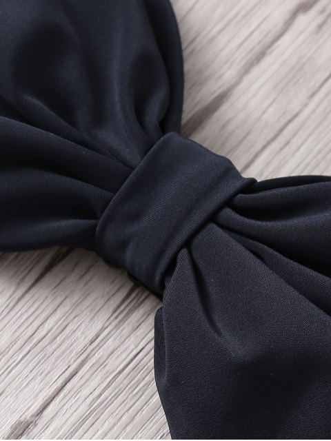 latest Zig Zag High Waisted Bowknot Embellished Bikini Set - CADETBLUE S Mobile