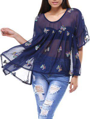 Cami Y La Impresión De La Mariposa V-cuello De La Camiseta De Twinset - Azul Purpúreo 5xl