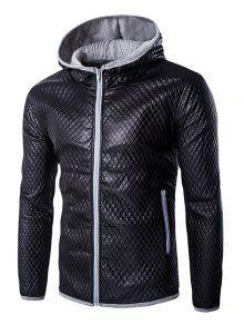 ريترو ستايل اللون بلوك مقنعين خياطة اللحف معطف جلد للرجال - اللون الرمادي 2xl