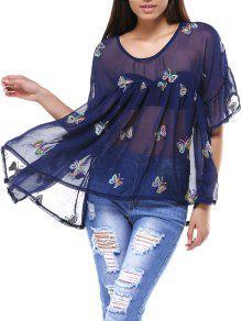 Cami Top And Butterfly Print V-Neck T-Shirt Twinset - Purplish Blue 3xl