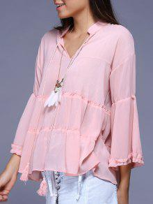 Frilled Bell Sleeve Blouse - Pink Xl