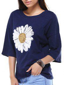 Sun Flower Round Neck 3/4 Sleeve Sequins T-Shirt - Deep Blue 2xl