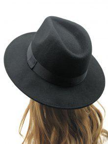 قبعة فيدورا بشريط - أسود