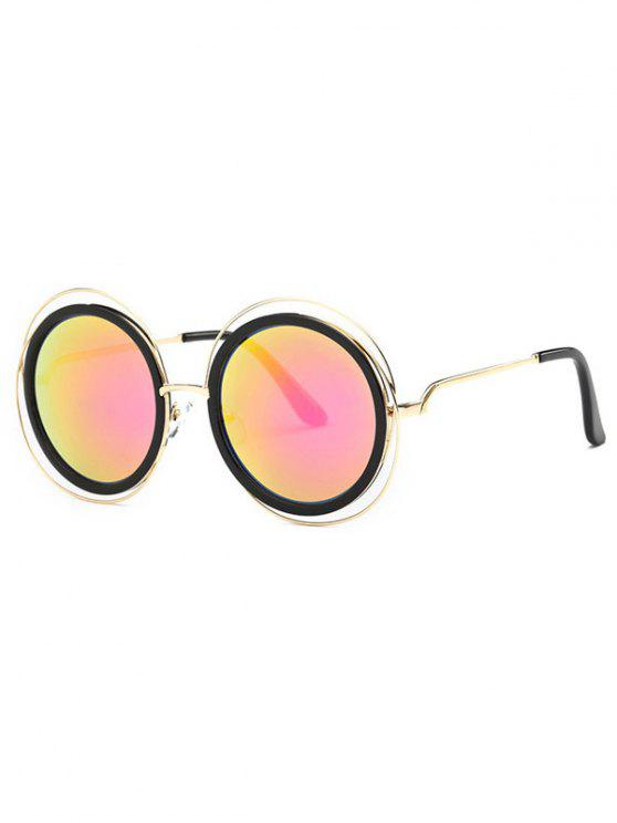 best Cut Out Round Mirrored Sunglasses - RED