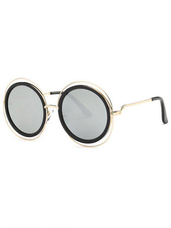 online Cut Out Round Mirrored Sunglasses - SILVER