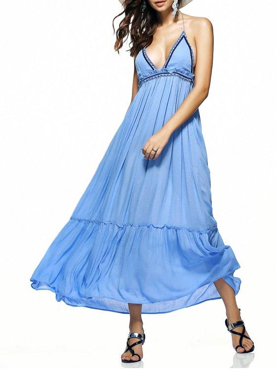 فستان طويل رسن كشكش عارية الظهر مطرز - الضوء الأزرق M
