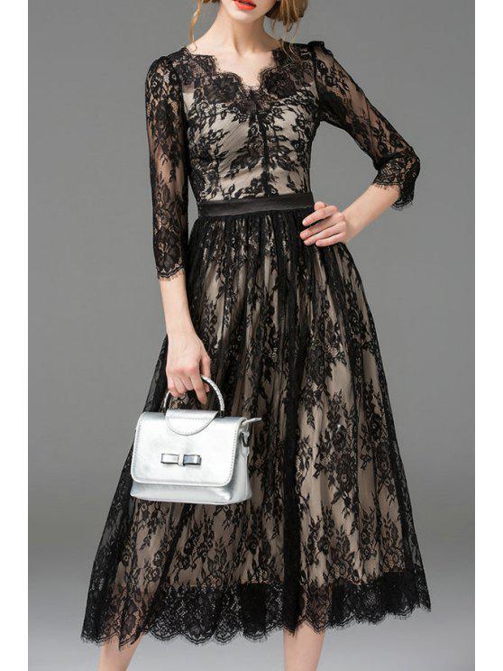 فستان دانتيل ماكسي بخط A - أسود S