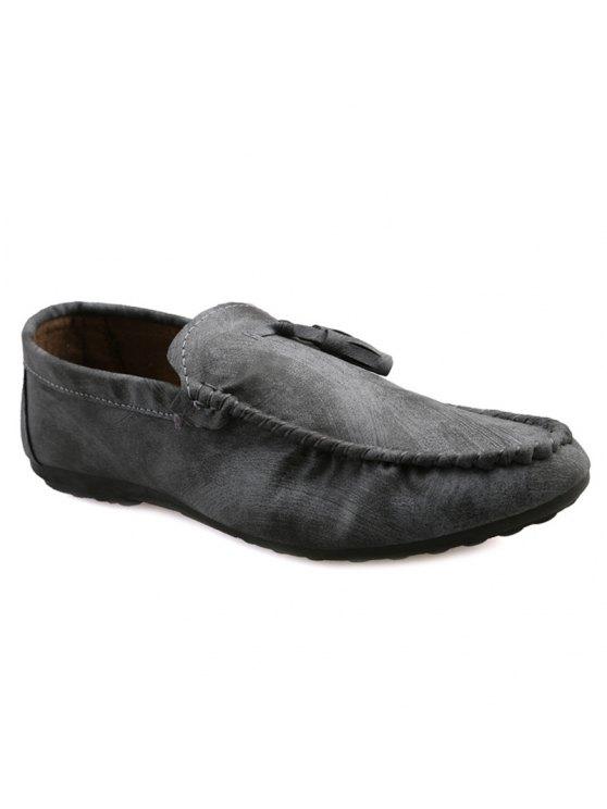 نمط بسيط خياطة والشرابة تصميم أحذية عادية للرجال - رمادي 44