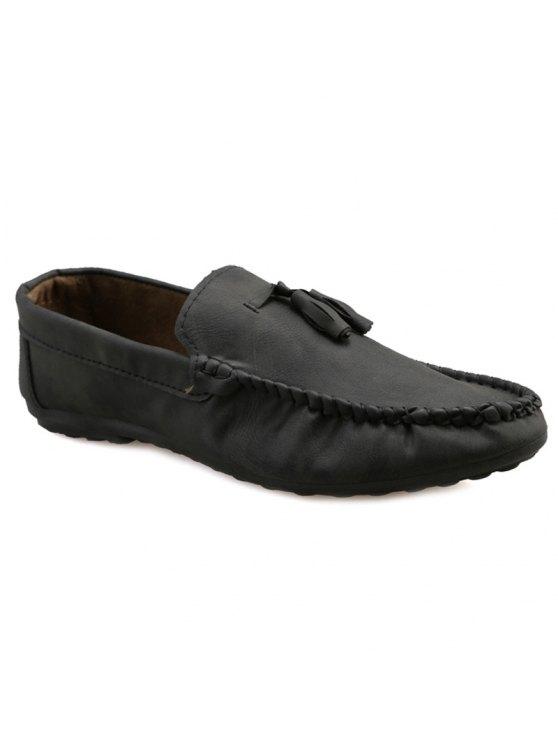 نمط بسيط خياطة والشرابة تصميم أحذية عادية للرجال - أسود 42