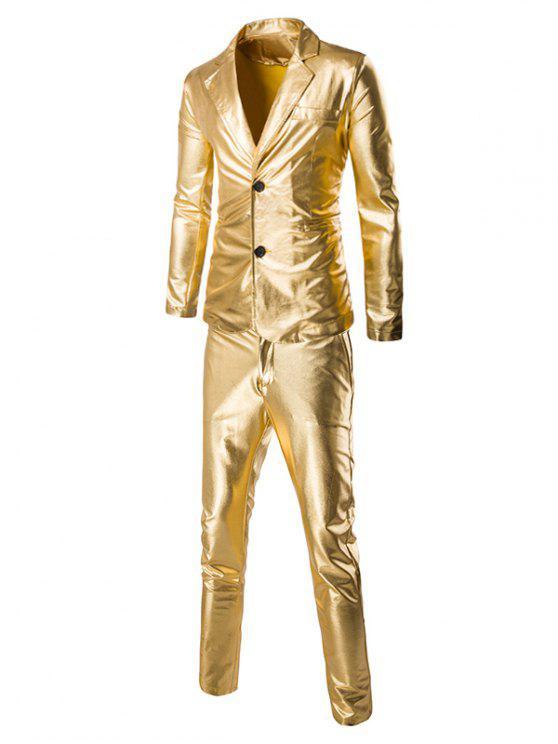 Modische Shinny Blazer + Hosen Twinset Anzüge für Männer - Golden M