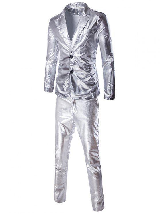 Modische Shinny Blazer + Hosen Twinset Anzüge für Männer - Silber L