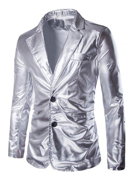 online Solid Color Metallic Lapel Long Sleeve Single Breasted Blazer For Men - SILVER XL