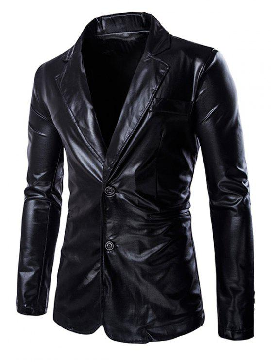 outfit Solid Color Metallic Lapel Long Sleeve Single Breasted Blazer For Men - BLACK L