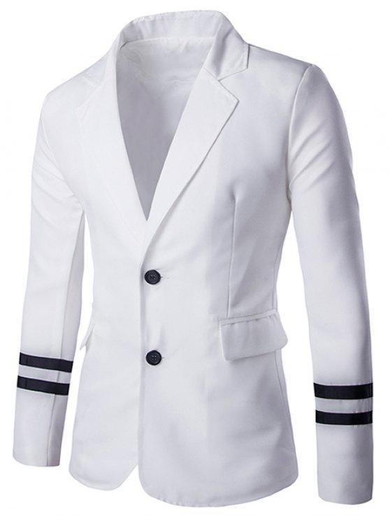 7fafc4fdc3d014 Stripe Cuffs Design Lapel Collar Long Sleeve Blazer For Men - White Xl