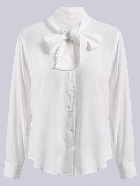 women's Solid Color Bowknot Flat Collar Long Sleeves Shirt - WHITE S