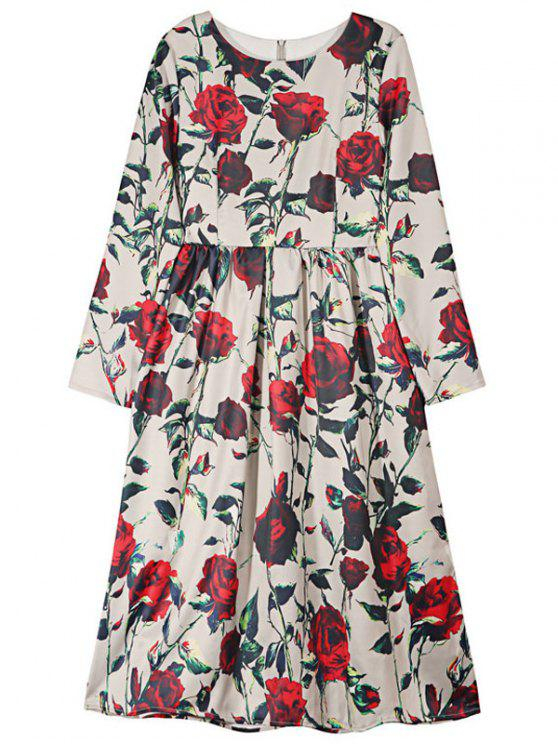shops Rose Print Round Neck Long Sleeve Puffball Dress - RED S
