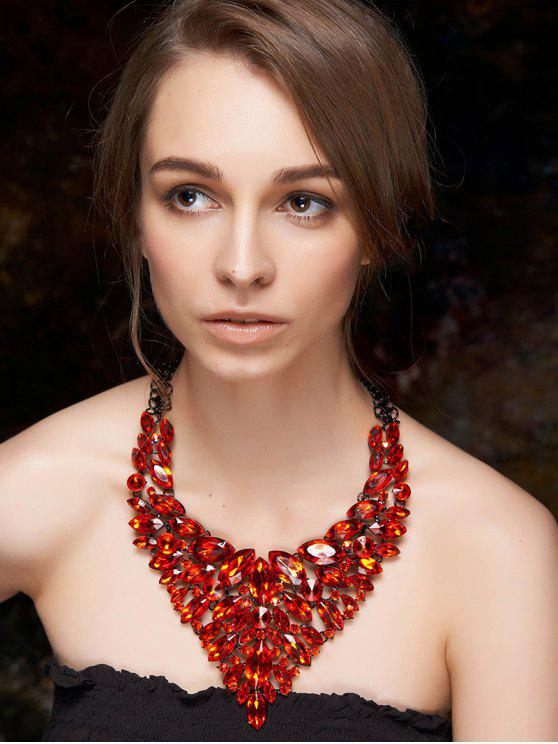 fancy Faux Ruby Layered Necklace - RED