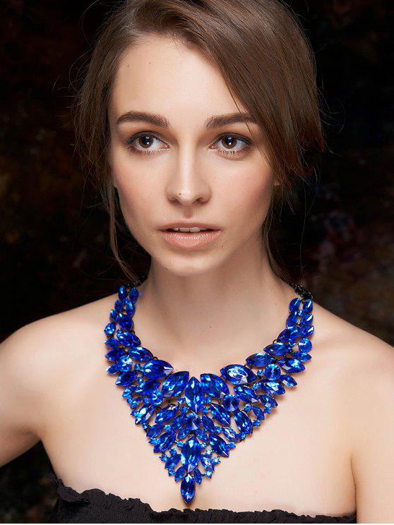 unique Faux Sapphire Layered Necklace - BLUE