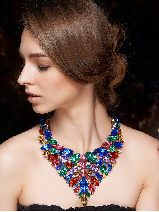 sale Colorful Faux Crystal Necklace - COLORMIX