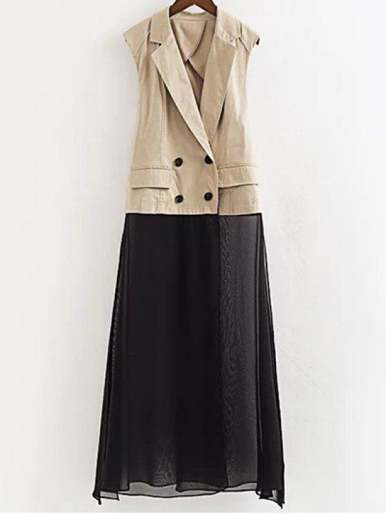 lady Chiffon Spliced Lapel Collar Color Block Waistcoat - LIGHT KHAKI M