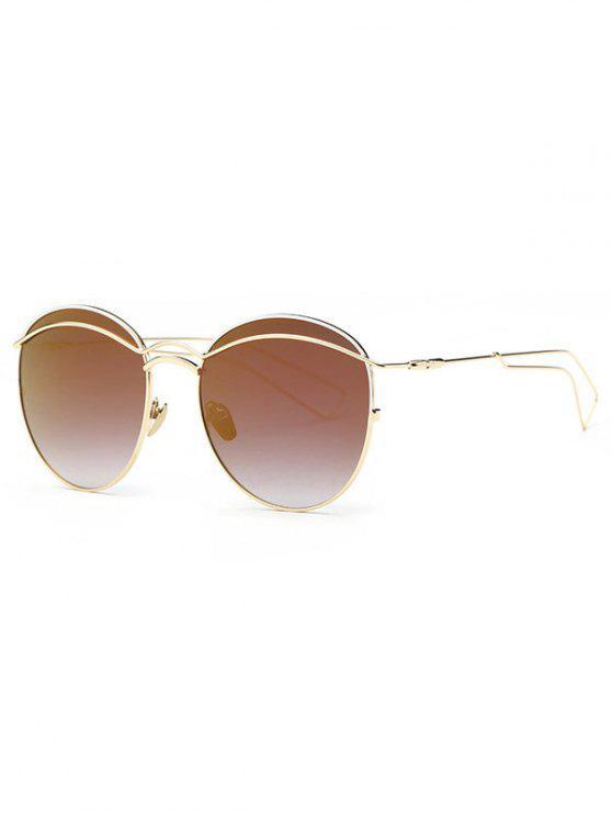 lady Crossbar Metallic Mirrored Sunglasses - COFFEE