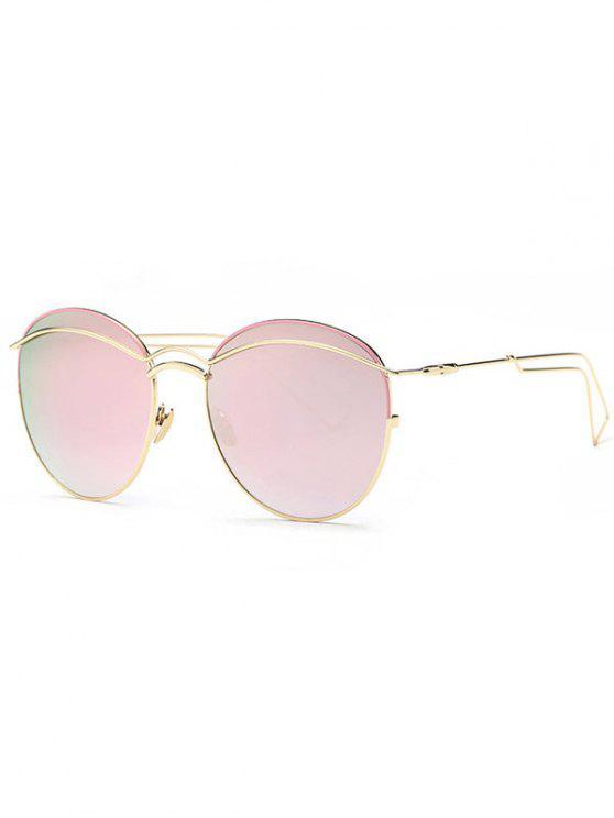 best Crossbar Metallic Mirrored Sunglasses - PINK