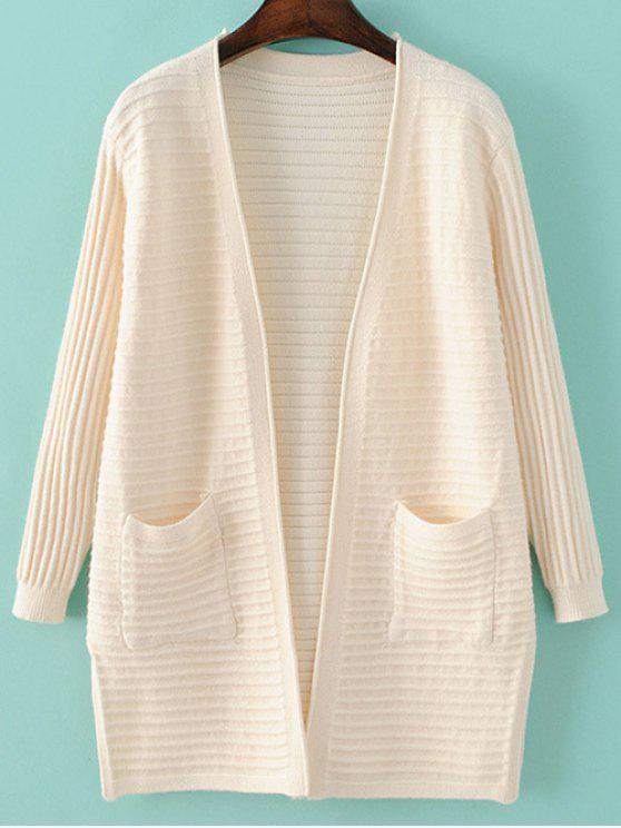 جيوب الصلبة اللون طويل الأكمام سترة صوفية - أبيض فاتح حجم واحد