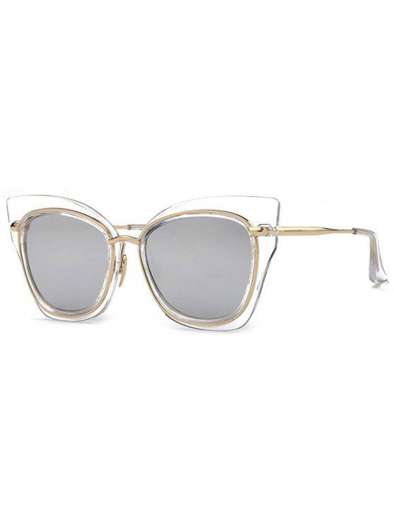 fancy Cat Eye Mirrored Sunglasses - SILVER