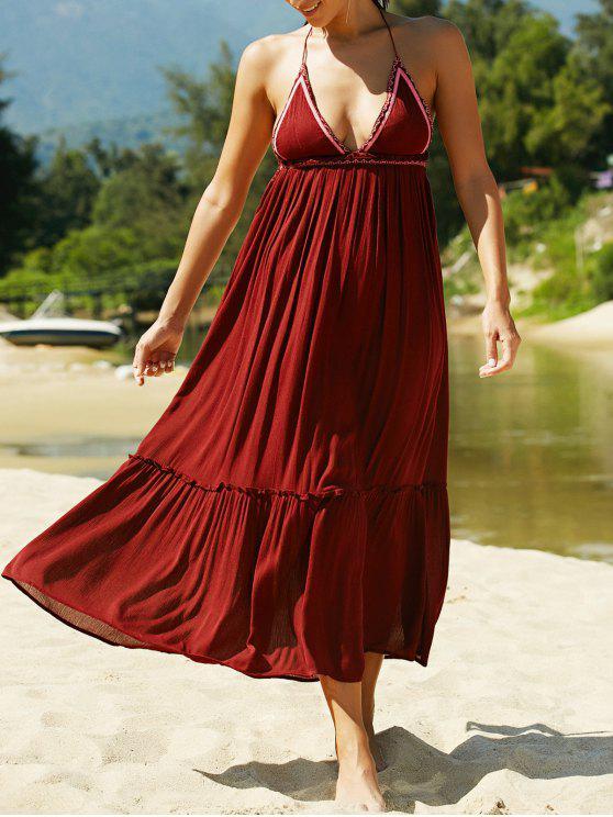 فستان طويل رسن كشكش عارية الظهر مطرز - نبيذ أحمر M