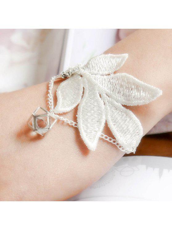 sale Vintage Floral Geometric Bracelet - WHITE