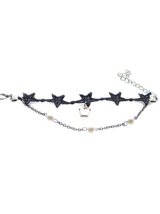 buy Vintage Faux Pearl Crown Star Bracelet For Women - BLACK