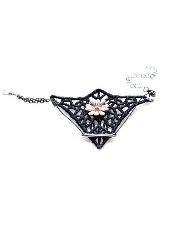 women Woven Geometric Floral Bracelet - BLACK