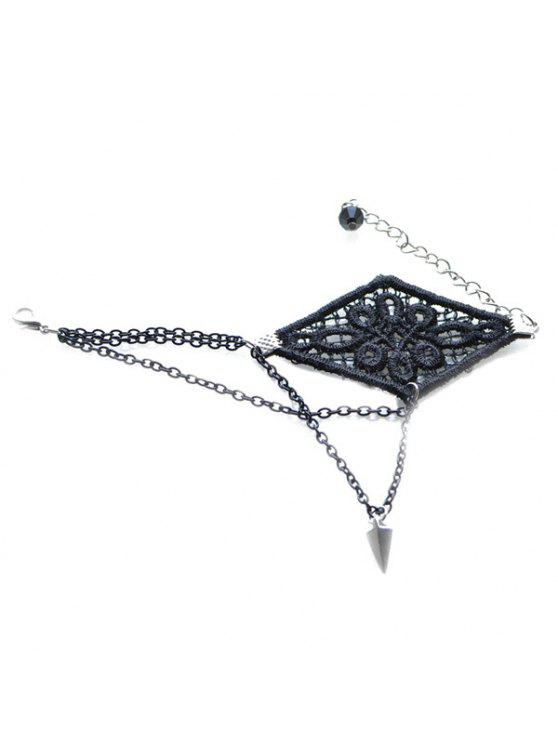 women's Graceful Woven Floral Rivet Bracelet For Women - BLACK