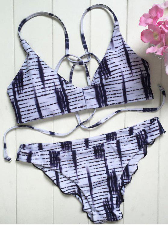 trendy Spaghetti Straps Ombre Print Bikini Set - WHITE L