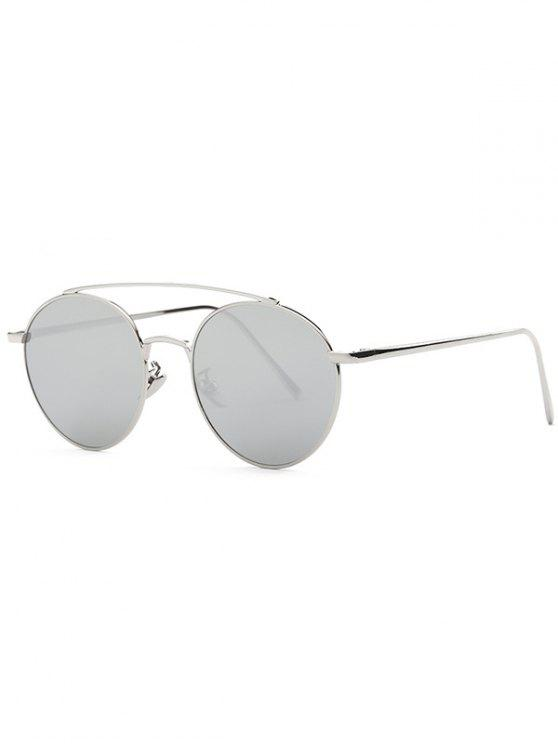 fancy Metal Frame Mirrored Sunglasses - SILVER