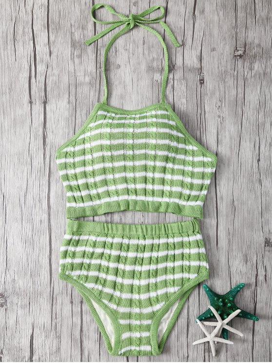 buy Halter Striped High Waisted Bikini - LIGHT GREEN ONE SIZE(FIT SIZE XS TO M)