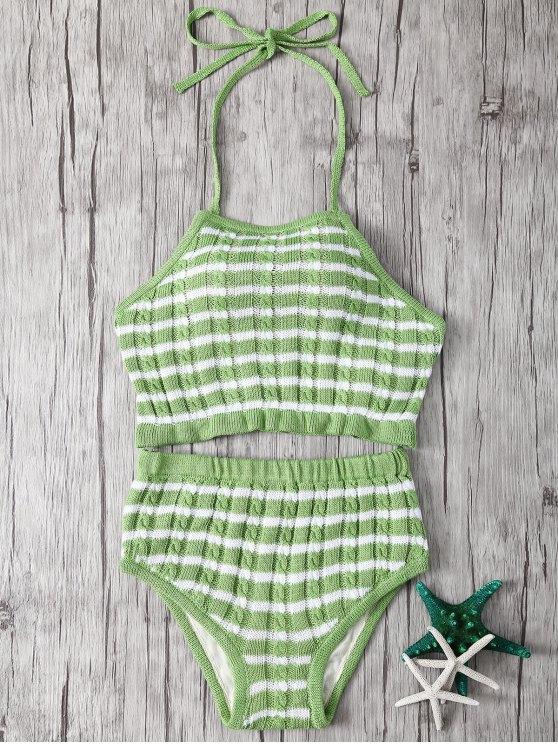 Halter strisce vita alta Tankini - Verde chiaro Tagia Unica ( dimensioni XS a M )