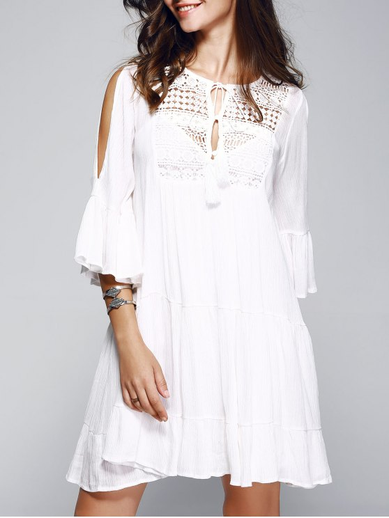 Bell Sleeve Tiered Dress With Cami Dress - Blanco S