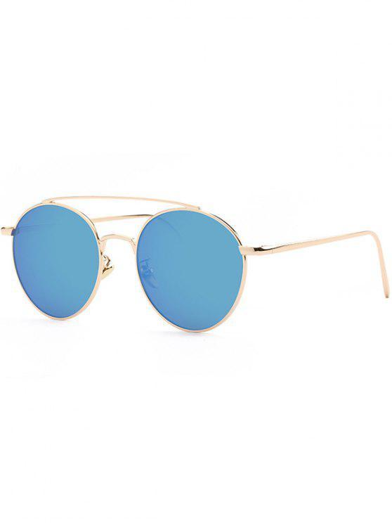 unique Metal Frame Mirrored Sunglasses - BLUE