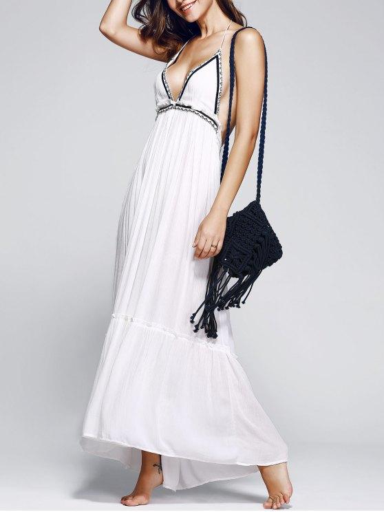 فستان طويل رسن كشكش عارية الظهر مطرز - أبيض S