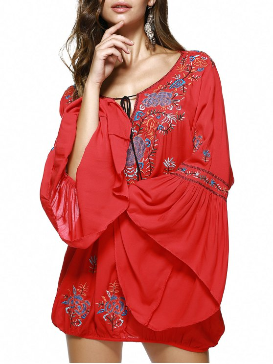 Scoop Neck Flare manches Fringe ethnique broderie Blouse - Rouge L