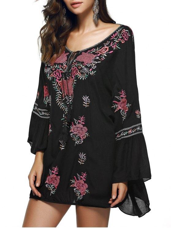 women Scoop Neck Flare Sleeve Fringe Ethnic Embroidery Blouse - BLACK L