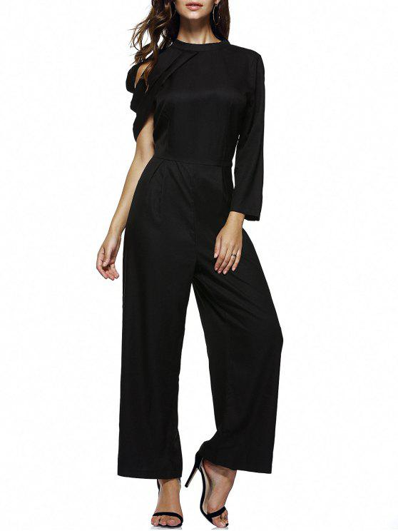fashion Strappy One Shoulder Wide Leg Jumpsuit - BLACK XL