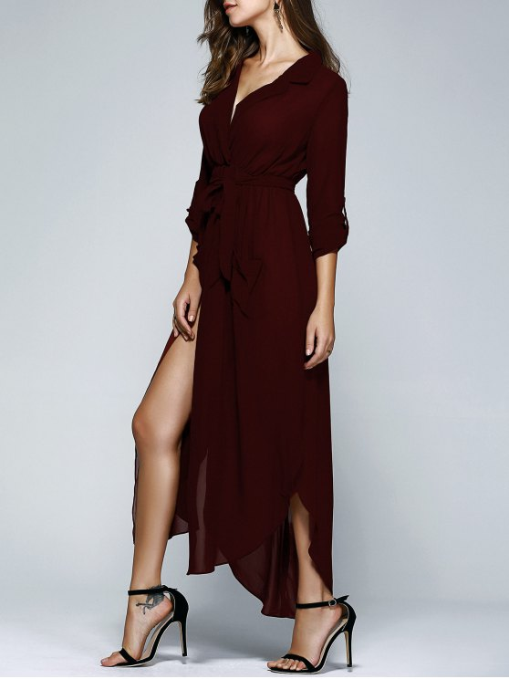 Sólido Collar color de la solapa Bolsillos vestido con cinturón - Vino Rojo L