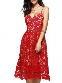 Robe Mi-longue En Crochet Floral à Bretelles Spaghettis - Rouge M