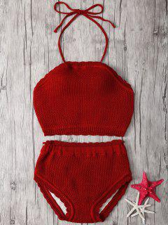 Crochet Halter High Waisted Bathing Suit - Red